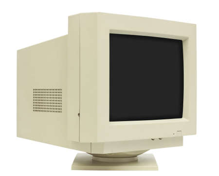 crt: Side view of CRT monitor isolated on white with clipping path - plain dark screen for copy