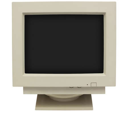 CRT monitor with black screen for copy isolated on white with clipping path photo