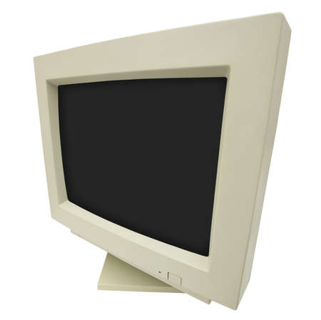 cathode ray tube: Wide angle shot of CRT monitor isolated on white with clipping path - plain dark screen for copy