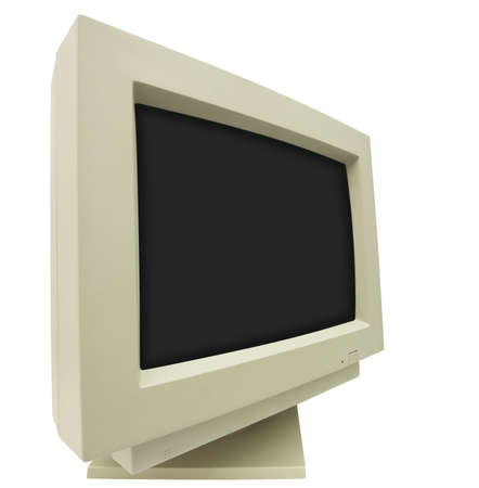 Wide angle shot of CRT monitor isolated on white with clipping path - plain dark screen for copy