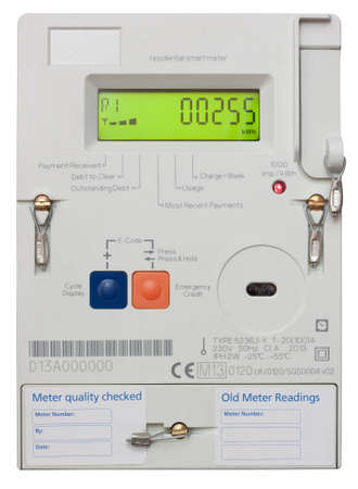 Residential smart electricity meter isolated on white with clipping path Editorial