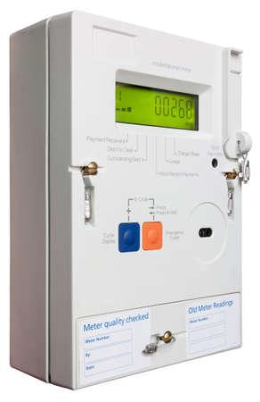 metro medir: Medidor de electricidad dom�stica inteligente aislados en blanco Foto de archivo