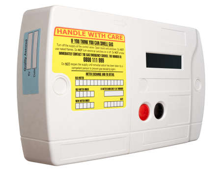 megawatts: Smart domestic gas meter isolated on white