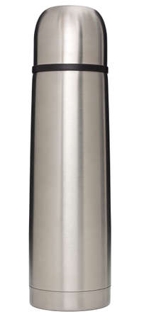 Stainless steel vacuum flask isolated on white with