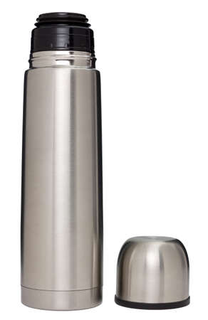insulated drink container: Stainless steel vacuum flask isolated on white  Stock Photo
