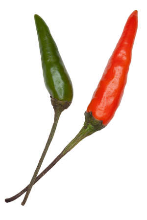 Red and green bird%u2019s eye chillies isolated on white
