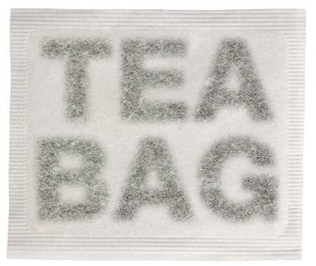 Sachet de th� avec du th� carr� dans la forme d'un sachet de th�, les mots isol�s sur fond blanc Banque d'images