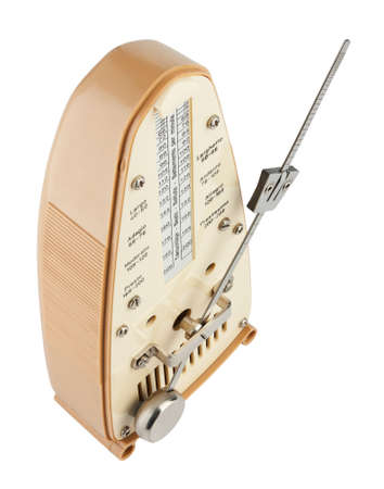 allegro: Metronome in motion viewed from above isolated on white
