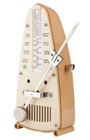 Metronome in motion isolated on white photo