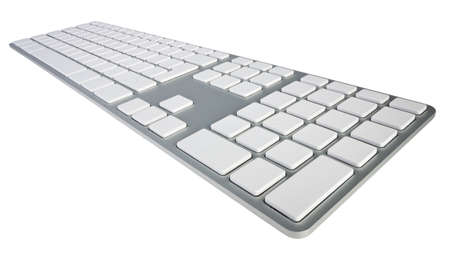 Wide angle shot of computer keyboard with blank keys isolated on white with clipping path Stock Photo