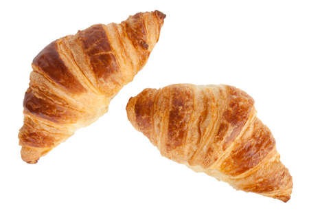 Two croissants isolated on white with clipping path