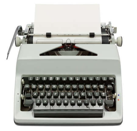 Typewriter with sheet of paper isolated
