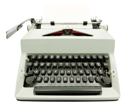 Wide angle front view of typewriter on white Stock Photo
