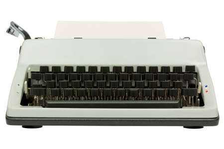 Front view of typewriter on white Stock Photo