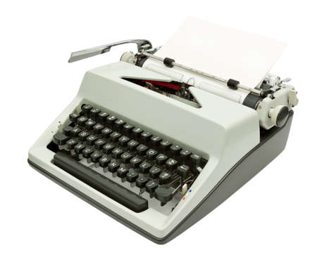 Side view of Typewriter on white  Stock Photo