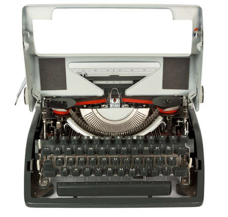 Open typewriter on white background with clipping path Stock Photo