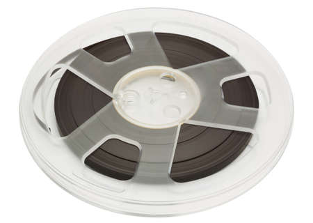 Open reel of quarter inch audio tape on spool isolated on white with clipping path Stock Photo - 30317319