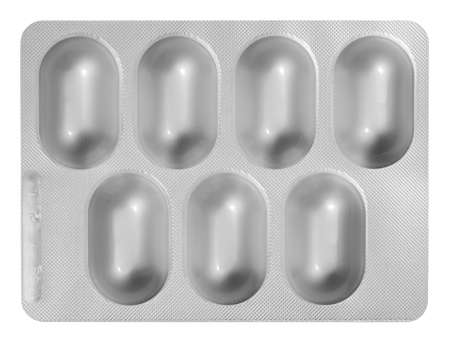 Blister Packet of Pills isolated on white background with clipping path Stock Photo