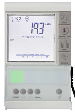 Residential smart electricity meter Display isolated on white with clipping path Stock Photo - 61043725