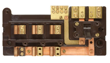 Inside an Old Fuse box isolated on white with clipping path Stock Photo