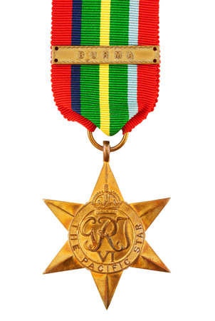 star path: The Pacific Star Second World War Medal with Burma Clasp isolated on white with clipping path Stock Photo