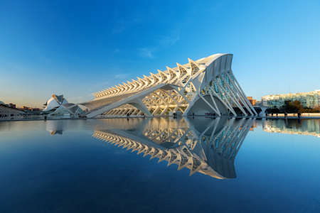 VALENCIA, SPAIN - JAN 20: Futuristic landmark architectural of the Príncipe Felipe Science Museum with the lake that surrounds out in front.