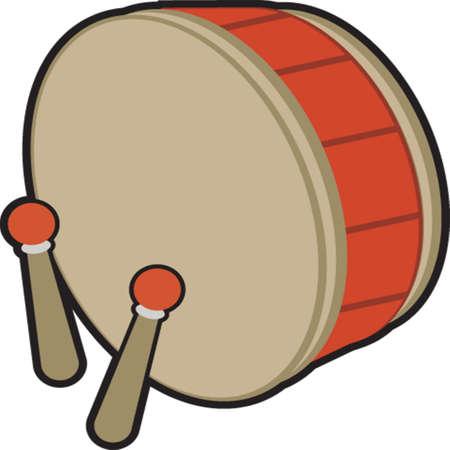 red drum: Drum and Stick Illustration