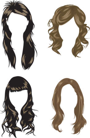 long straight hair: Hair Style 2 Vectores