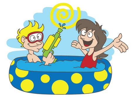 long hair boy: Summer holiday Illustration