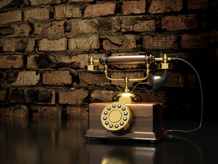 antique phone: a retro phone on reception Stock Photo
