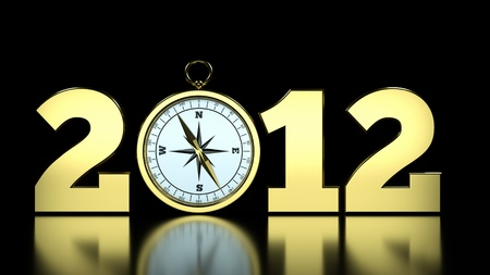 a compass as a part of concept, choose you direction on 2012 year Stock Photo - 10516509