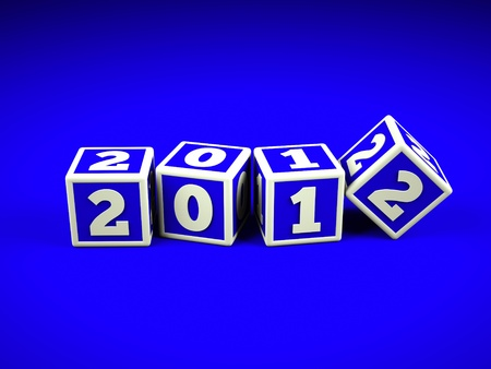 a blue cubes with digits inside in a shape 2012 photo