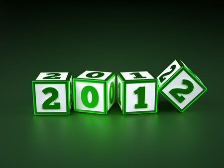 a blue cubes with digits inside in a shape 2012, new year photo