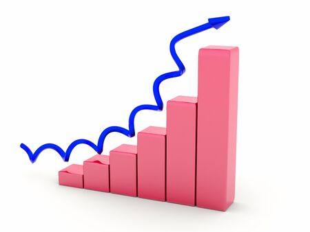 a diagram with arrow, business growth concept photo