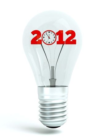 turn on 2012 year, a bulb with 2012 concept inside, new year concept photo