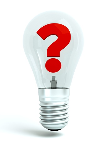 a lighting bulb with question inside on white photo