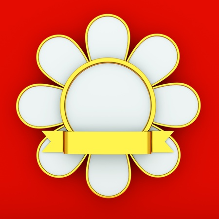 medal in the shape of a flower, award ribbon photo