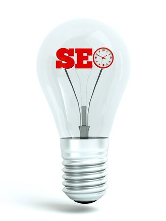 a seo concept, word in bulb