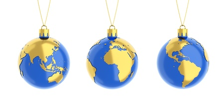 europe closeup: the earth as a christmas balls isolated on white