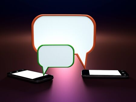 balon: a two phones with speech bubble  Stock Photo