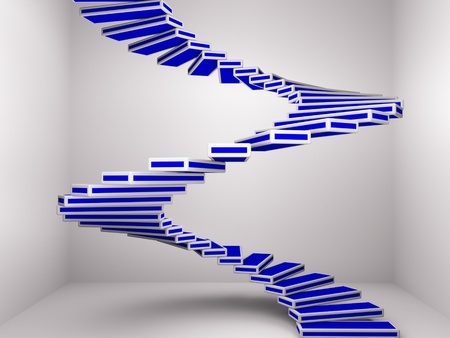 a blue spiral staircase up as a background Stock Photo - 10555719