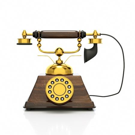 a retro phone on white photo