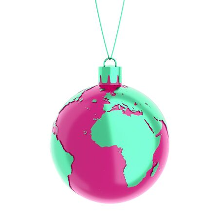 the earth as a christmas ball isolated on white Stock Photo - 10555707
