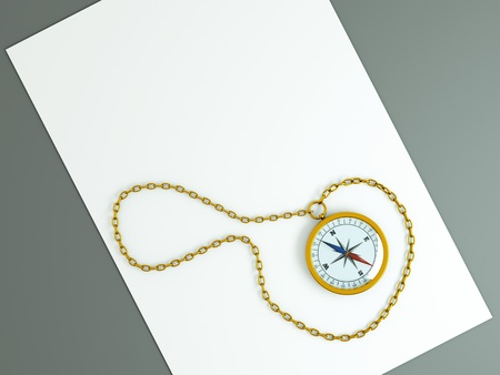 a compass with chain on the old aged white list photo