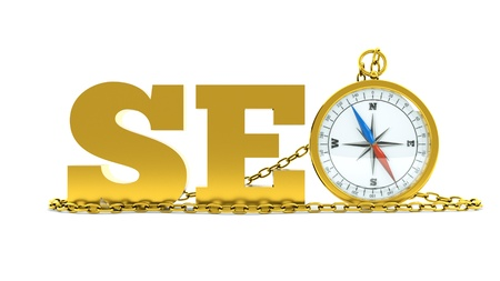 a gold seo concept with compass with chain Stock Photo - 10594729