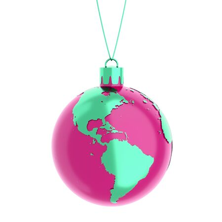 south africa map: the earth as a christmas ball isolated on white