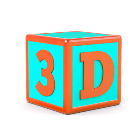 a cube with 3d word inside photo