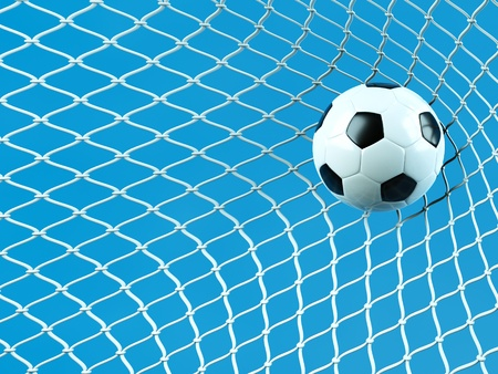a soccer ball in a net, goal concept