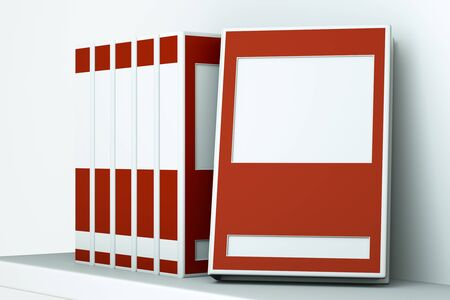 hz: a red books on a shelf Stock Photo
