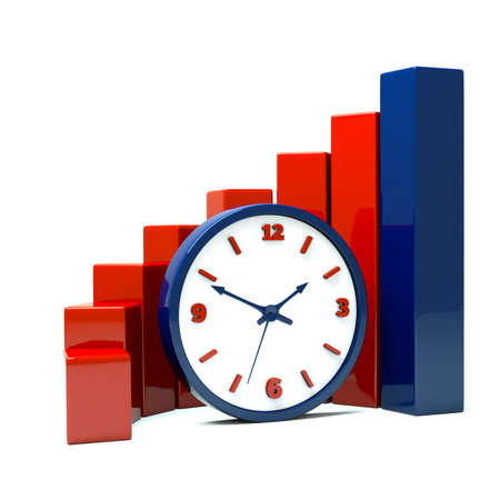 duration: a diagram with clock a business concept Stock Photo